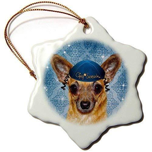 QMSING Chihuahua in a Yarmulke Chanukah Funny Dog in Blue Snowflake Ornament, 3 BH571792