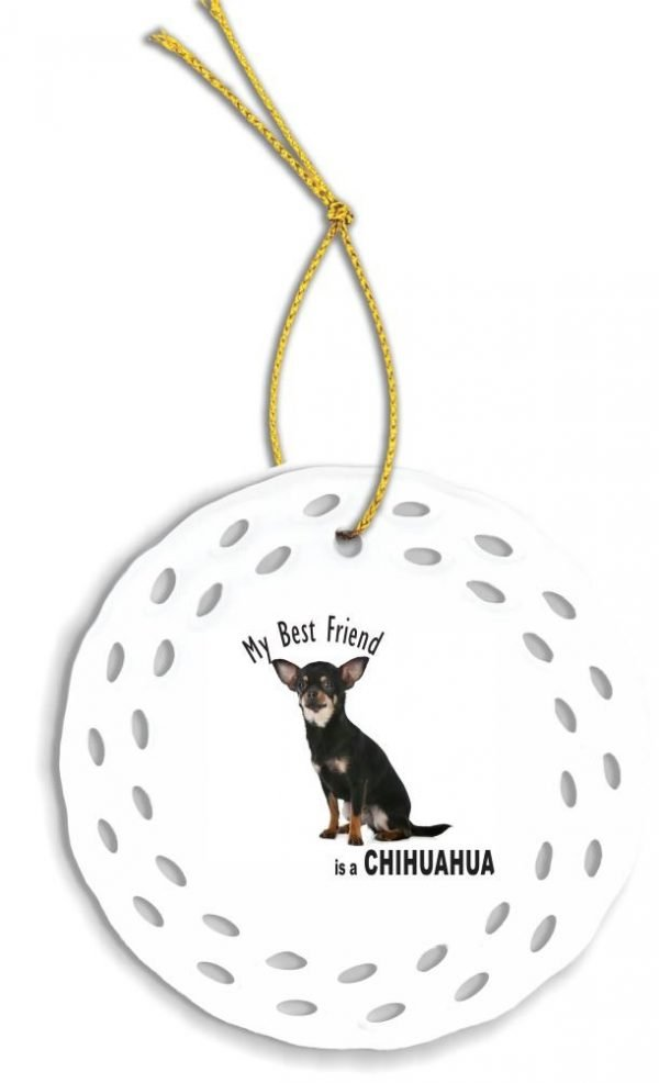 Rikki Knight My Best Friend is a Black Chihuahua Dog Wreath Porcelain (Two-Sided Design) Christmas Ornament