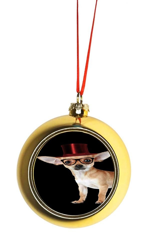 Rosie Parker Inc. Hipster Chihuahua Dog in a Red Top Hat Bauble Christmas Ornaments Gold Bauble Tree Xmas Balls
