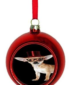 Rosie Parker Inc. Hipster Chihuahua Dog in a Red Top Hat Bauble Christmas Ornaments Red Bauble Tree Xmas Balls