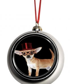 Rosie Parker Inc. Hipster Chihuahua Dog in a Red Top Hat Bauble Christmas Ornaments Silver Bauble Tree Xmas Balls