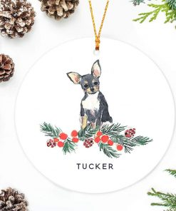 SLobyy Black Chihuahua Christmas Ornament Holly Berry Branch Hand Painted Cartoon Cute Ceramics Porcelain Christmas Tree Decoration 3 inches