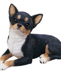 Sandicast Original Size Tri Chihuahua Sculpture - Lying