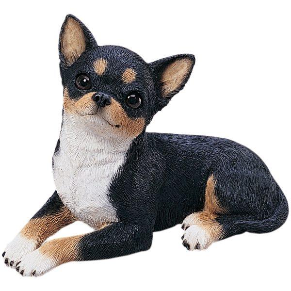 Sandicast Original Size Tri Chihuahua Sculpture - Lying