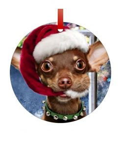 Santa Chihuahua-Double-Sided Round Shaped Flat Aluminum Christmas Holiday Hanging Tree Ornament with a Red Satin Ribbon. Made in the USA!
