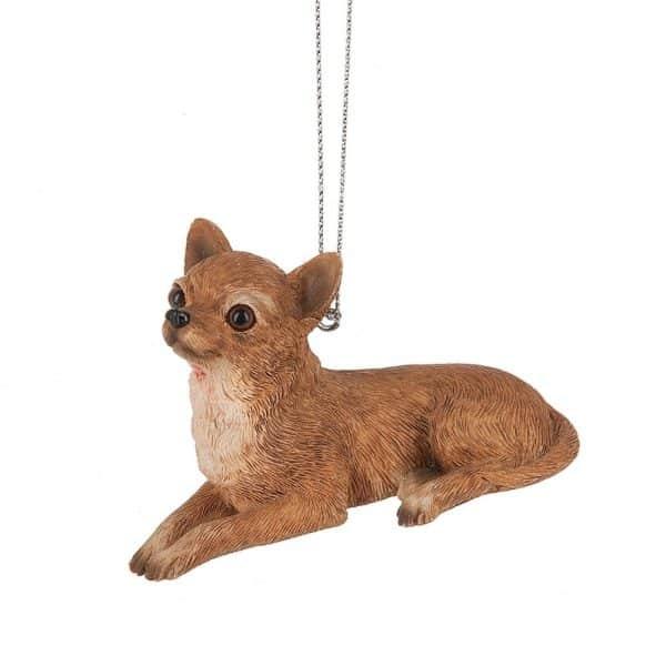 Sitting Chihuahua Tan Dog 3.5 x 2 Inch Resin Christmas Ornament Figurine