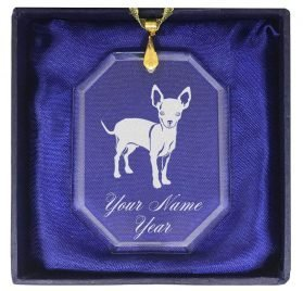 SkunkWerkz Christmas Ornament, Chihuahua Dog, Personalized Engraving Included (Rectangle Shape)