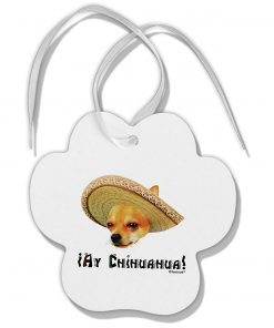 TOOLOUD Chihuahua Dog with Sombrero - Ay Chihuahua Paw Print Shaped Ornament