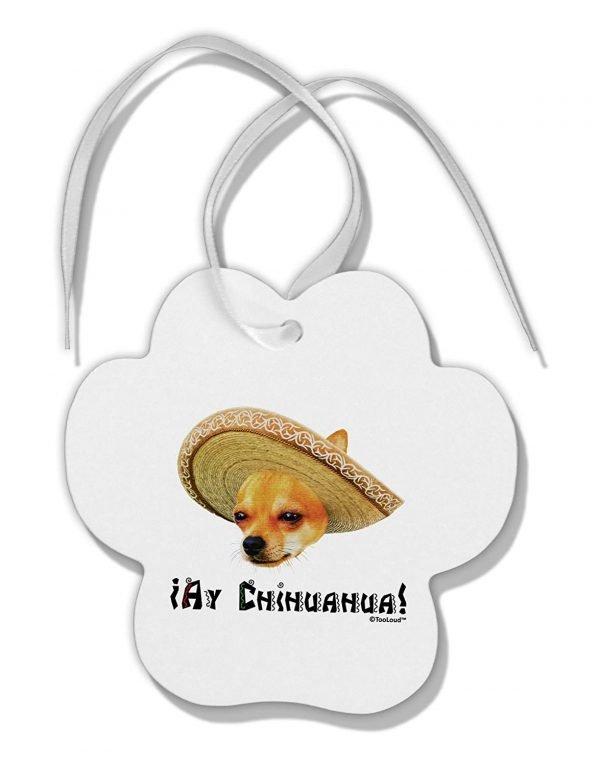 TOOLOUD Chihuahua Dog with Sombrero - Ay Chihuahua Paw Print Shaped Ornament