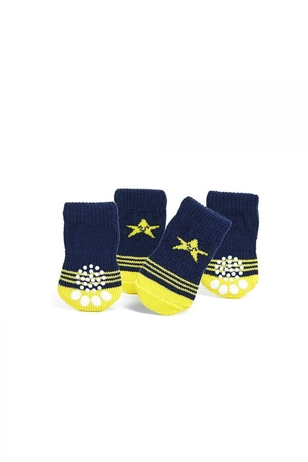 Toy Small Dog Non Slip 2 sock packs (8 pcs) For Yorkie Pom Maltese Chihuahua (Small Size, blue, yellow, star) 3