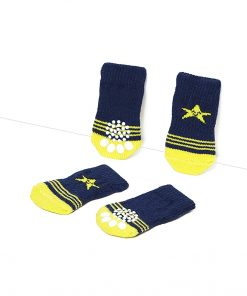 Toy Small Dog Non Slip 2 sock packs (8 pcs) For Yorkie Pom Maltese Chihuahua (Small Size, blue, yellow, star) 4