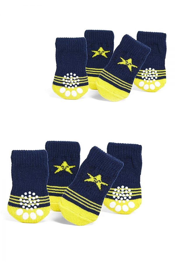 Toy Small Dog Non Slip 2 sock packs (8 pcs) For Yorkie Pom Maltese Chihuahua (Small Size, blue, yellow, star)