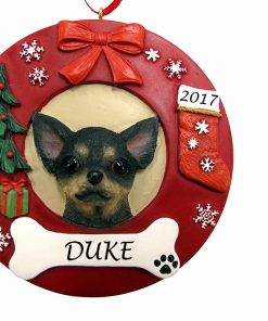 Wreath Chihuahua, Black Color Personalized Christmas Ornament