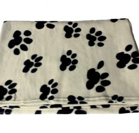 bogo Brands Large Fleece Pet Blanket with Paw Print Pattern Fabric - 60 x 39 Dog and Cat throw (Tan & Black) 2