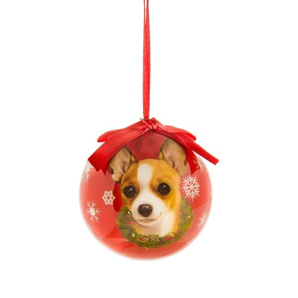 eBigValue Pets Christmas Ball Shatter Proof Bow Xmas Tree Ornaments Seasonal Dog Collection (3 inch) (Tan Chihuahua) 2