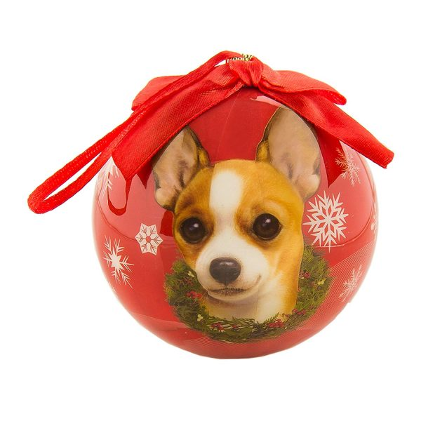eBigValue Pets Christmas Ball Shatter Proof Bow Xmas Tree Ornaments Seasonal Dog Collection (3 inch) (Tan Chihuahua)