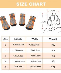 ASOCEA Pet Dog Breathable Mesh Sandals Shoes Paw Protector with Reflective Strip Anti-Slip Sole for Dogs 5 Sizes Orange 2