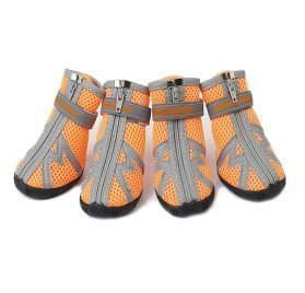 ASOCEA Pet Dog Breathable Mesh Sandals Shoes Paw Protector with Reflective Strip Anti-Slip Sole for Dogs 5 Sizes Orange