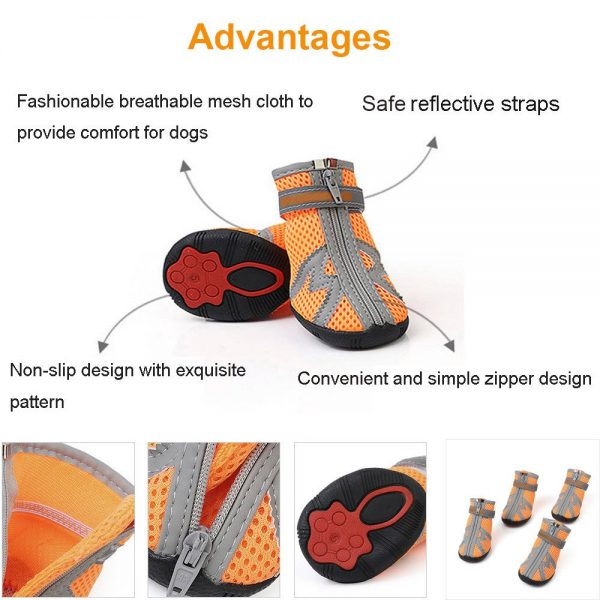 ASOCEA Pet Dog Breathable Mesh Sandals Shoes Paw Protector with Reflective Strip Anti-Slip Sole for Dogs 5 Sizes Orange 3