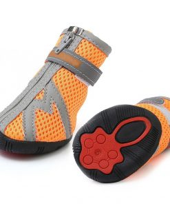 ASOCEA Pet Dog Breathable Mesh Sandals Shoes Paw Protector with Reflective Strip Anti-Slip Sole for Dogs 5 Sizes Orange 5