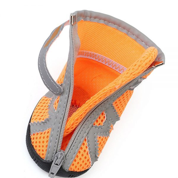 ASOCEA Pet Dog Breathable Mesh Sandals Shoes Paw Protector with Reflective Strip Anti-Slip Sole for Dogs 5 Sizes Orange 6