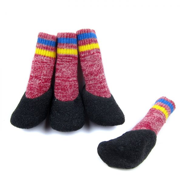 Alfie Pet by Petoga Couture - Brett Set of 4 Rubber Dipped Dog Paw Protection Socks - Color- Red, Size- XS 4