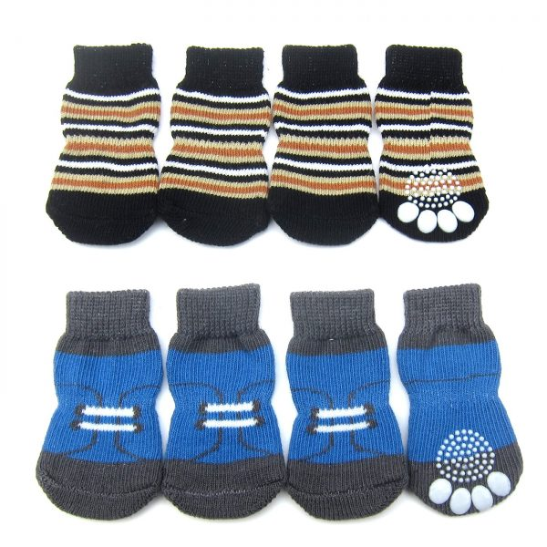 Alfie Pet by Petoga Couture - Gari 2 Set of 4 Dog Paw Protection Indoor Socks - Color- Black Stripe and Blue, Size- Small 2