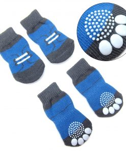 Alfie Pet by Petoga Couture - Gari 2 Set of 4 Dog Paw Protection Indoor Socks - Color- Black Stripe and Blue, Size- Small 3