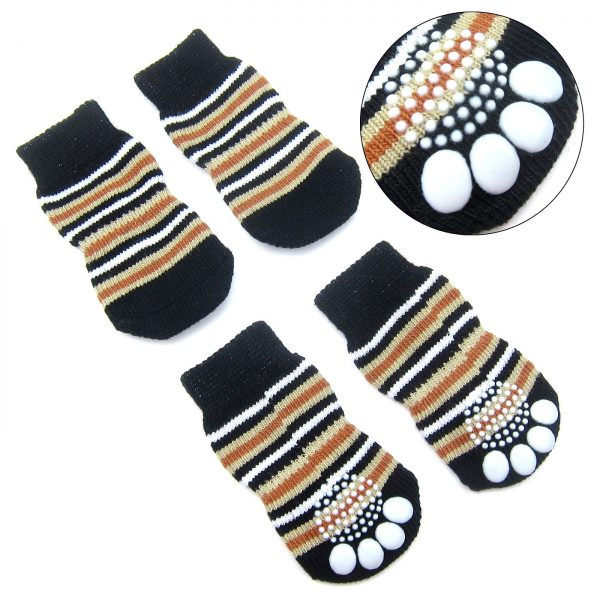 Alfie Pet by Petoga Couture - Gari 2 Set of 4 Dog Paw Protection Indoor Socks - Color- Black Stripe and Blue, Size- Small 4