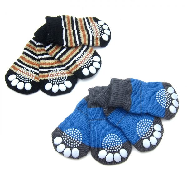 Alfie Pet by Petoga Couture - Gari 2 Set of 4 Dog Paw Protection Indoor Socks - Color- Black Stripe and Blue, Size- Small 5