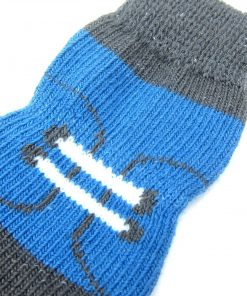 Alfie Pet by Petoga Couture - Gari 2 Set of 4 Dog Paw Protection Indoor Socks - Color- Black Stripe and Blue, Size- Small 6