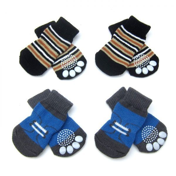 Alfie Pet by Petoga Couture - Gari 2 Set of 4 Dog Paw Protection Indoor Socks - Color- Black Stripe and Blue, Size- Small