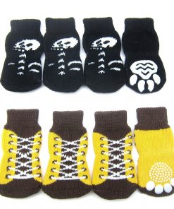 Alfie Pet by Petoga Couture - Gari 2 Set of 4 Dog Paw Protection Indoor Socks - Color- Black and Brown Yellow, Size- Small 2