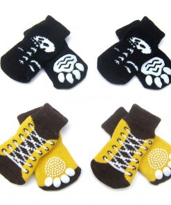 Alfie Pet by Petoga Couture - Gari 2 Set of 4 Dog Paw Protection Indoor Socks - Color- Black and Brown Yellow, Size- Small