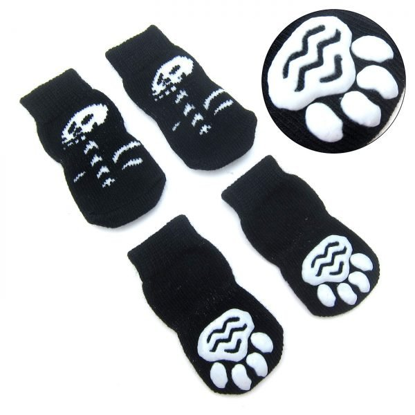 Alfie Pet by Petoga Couture - Gari 2 Set of 4 Dog Paw Protection Indoor Socks - Color- Black and Brown Yellow, Size- Small 3