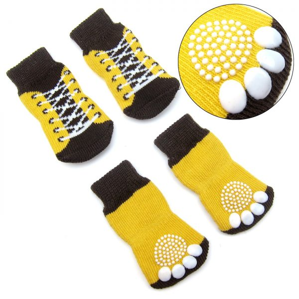 Alfie Pet by Petoga Couture - Gari 2 Set of 4 Dog Paw Protection Indoor Socks - Color- Black and Brown Yellow, Size- Small 4