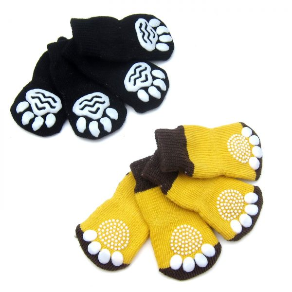 Alfie Pet by Petoga Couture - Gari 2 Set of 4 Dog Paw Protection Indoor Socks - Color- Black and Brown Yellow, Size- Small 5