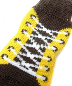 Alfie Pet by Petoga Couture - Gari 2 Set of 4 Dog Paw Protection Indoor Socks - Color- Black and Brown Yellow, Size- Small 6