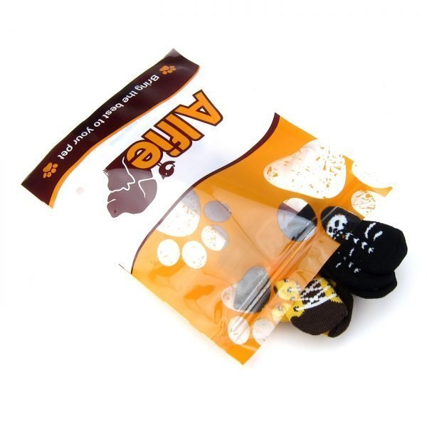 Alfie Pet by Petoga Couture - Gari 2 Set of 4 Dog Paw Protection Indoor Socks - Color- Black and Brown Yellow, Size- Small 7