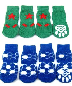 Alfie Pet by Petoga Couture - Gari 2 Set of 4 Dog Paw Protection Indoor Socks - Color- Green and Blue, Size- Small 2