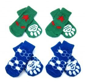 Alfie Pet by Petoga Couture - Gari 2 Set of 4 Dog Paw Protection Indoor Socks - Color- Green and Blue, Size- Small
