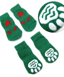 Alfie Pet by Petoga Couture - Gari 2 Set of 4 Dog Paw Protection Indoor Socks - Color- Green and Blue, Size- Small 3