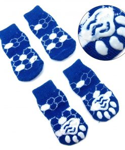 Alfie Pet by Petoga Couture - Gari 2 Set of 4 Dog Paw Protection Indoor Socks - Color- Green and Blue, Size- Small 4