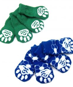 Alfie Pet by Petoga Couture - Gari 2 Set of 4 Dog Paw Protection Indoor Socks - Color- Green and Blue, Size- Small 5
