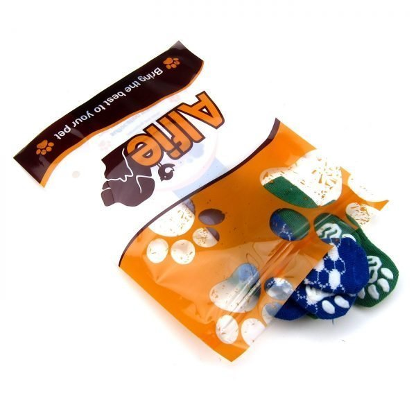 Alfie Pet by Petoga Couture - Gari 2 Set of 4 Dog Paw Protection Indoor Socks - Color- Green and Blue, Size- Small 7