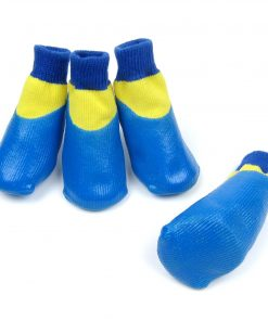 Alfie Pet by Petoga Couture - Terry Set of 4 Rubber Dipped Dog Paw Protection Socks - Color- Blue, Size- XXS 4