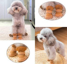 Asobilor Dog Shoes Booties Breathable Paws Protector Anti-Skid Dog Boots with Adjustable Strap Pet Winter Warm Snow Boots for Chihuahua Teddy 2