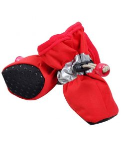 BUYITNOW Water Resistance Dog Shoes Paw Protector with Nonslip Sole Reflective Strap for Small Puppy 2