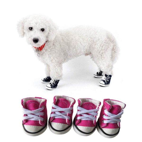 CELLTEK Pet Dog Puppy Canvas Sport Shoes Sneaker Boots, Outdoor Nonslip Causal Shoes, Rubber Sole for Chihuahua Yorkie, 4 Pcs in One Pack