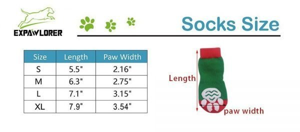 EXPAWLORER Christmas Dog Socks Non Slip for Hardwood Floors - Anti-Slip Socks for Small to Large Dogs, Traction Control, Paw Protection 2